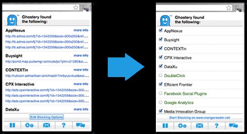Ghostery identifie tous les cookies qui font un suivi des sites Web que vous visitez