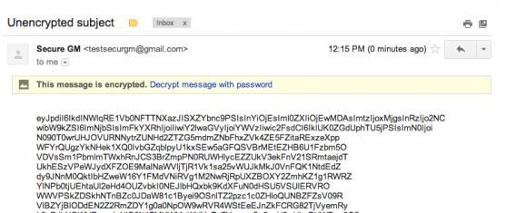 Un email chiffré avec SecureGmail