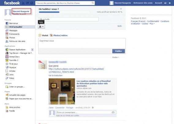 Menu Home facebook