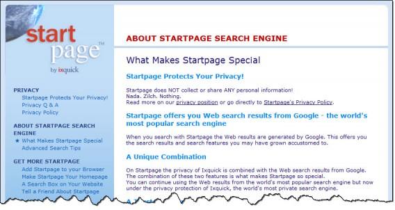 Startpage - page d'information sur le projet