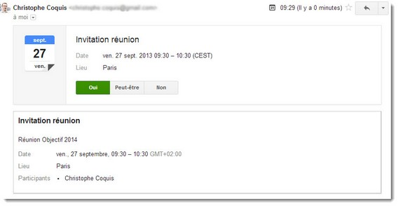 Envoyer une invitation - Message reçu dans Gmail