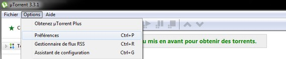 uTorrent Option préférence