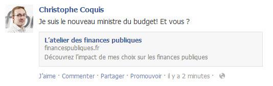 Budget de la France 2014: partager vos résultats sur Facebook