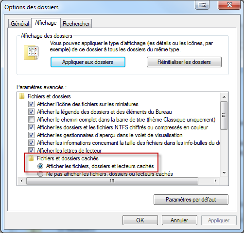 Windows 7 Elements masqués