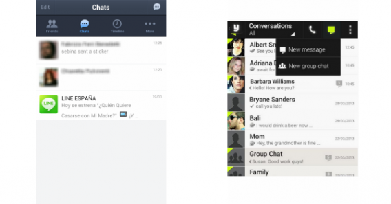 Telas de interface do Line e Yuilop