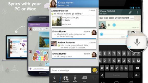 Telas de funcionalidades adicionais no Viber, BBM e WhatsApp