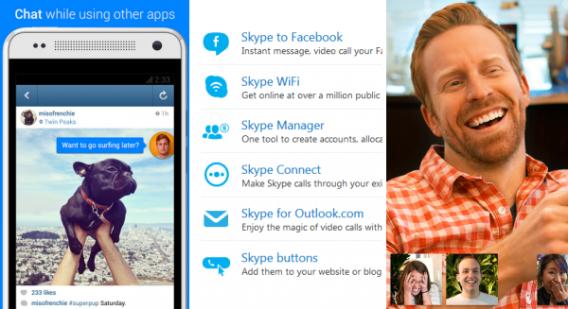 Telas de funcionalidades adicionais no FB Messenger, Skype e Hangouts