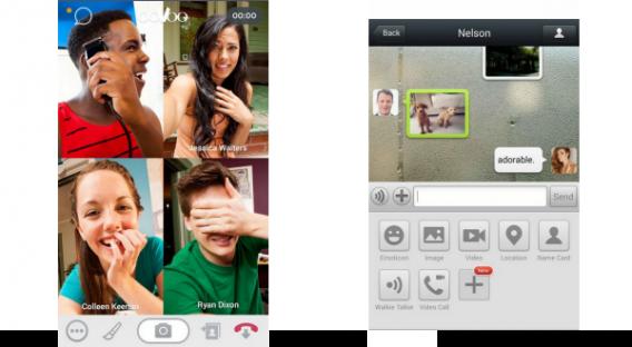 Telas de chamada do ooVoo e WeChat