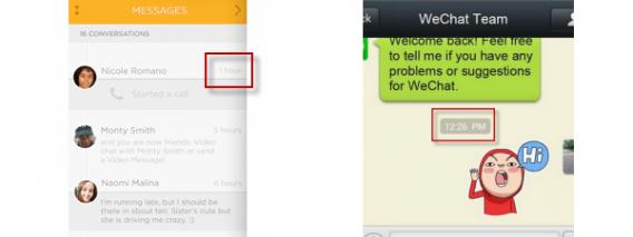 Comparatif des notifications de ooVoo et WeChat