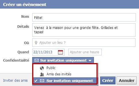 Créer des événements sur Facebook- Choisir les amis que vous voulez inviter