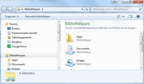Explorateur de fichiers Windows 7