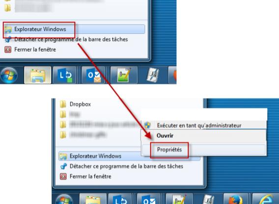 Propriétés de l'Explorateur de fichiers Windows