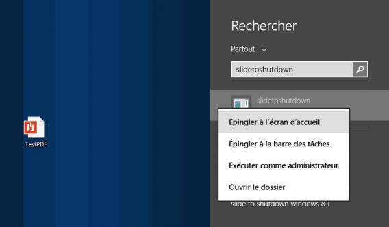 Epingler à l'écran d'accueil SlideToShutdown