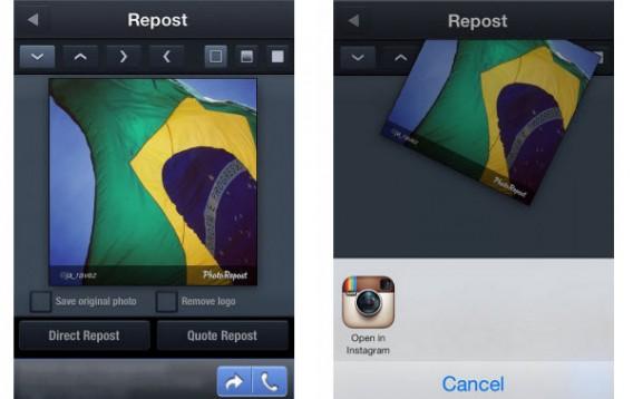 Envoyer à Instagram PhotoRepost