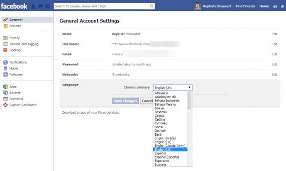 Change language Facebook Graph Search