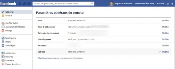 Modifiez la langue princiaple de Facebook