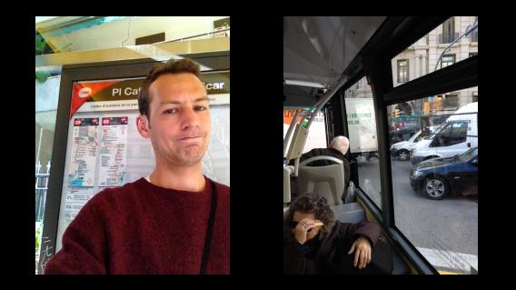 Baptiste arrisca pegar um ônibus, mesmo sem orientações do Apple Maps