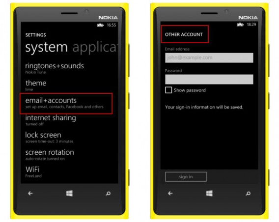 Add your email to Windows Phone