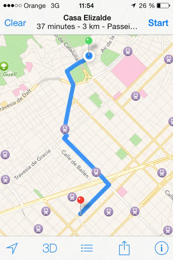 Sugestão de trajeto no Apple Maps