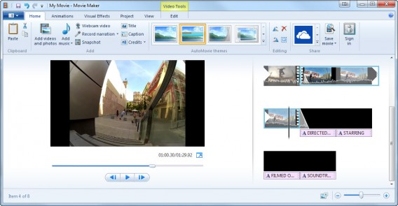 Interface do Microsoft Movie Maker