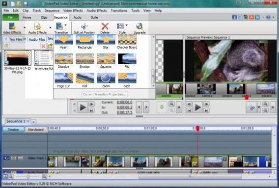 Efeitos do VideoPad Video Editor