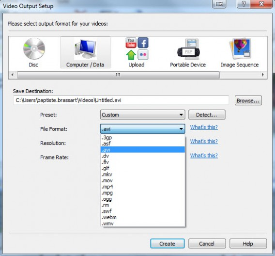 VideoPad Video Editor export