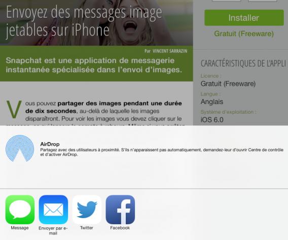 Application Softonic - partage réseaux sociaux