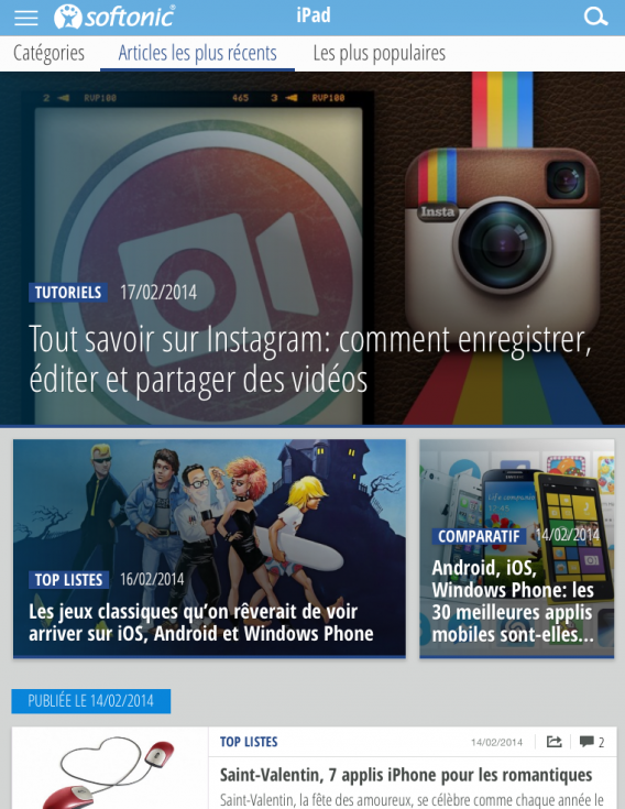 Application Softonic : article Instagram
