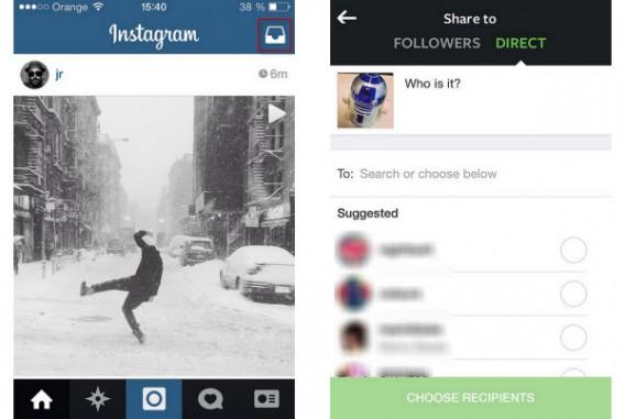 2 manières d'accéder à Instagram Direct