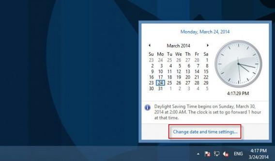 Alterar configurações de data e hora