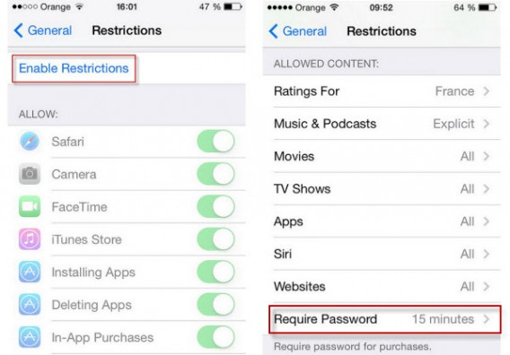Activate restrictions related to iPhone services