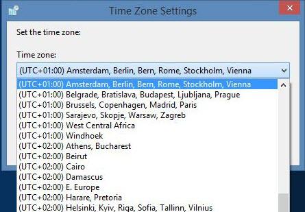 Tela de seleção de fusos horários do Windows
