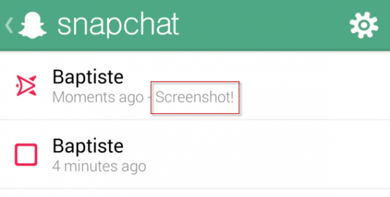 Copie d'écran Snapchat