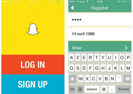 Inscription à Snapchat