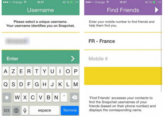 Snapchat username and friend search