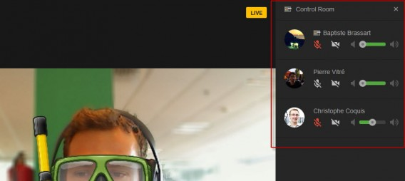 Sala de controles do Google Hangouts