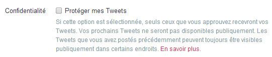Twitter - confidentialité