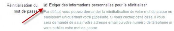 Twitter - réinitialisation du mot de passe