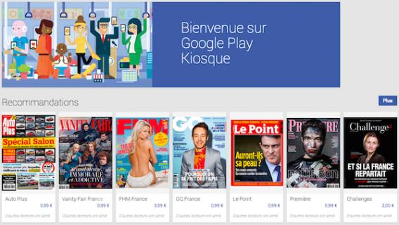 Menu google play kiosque
