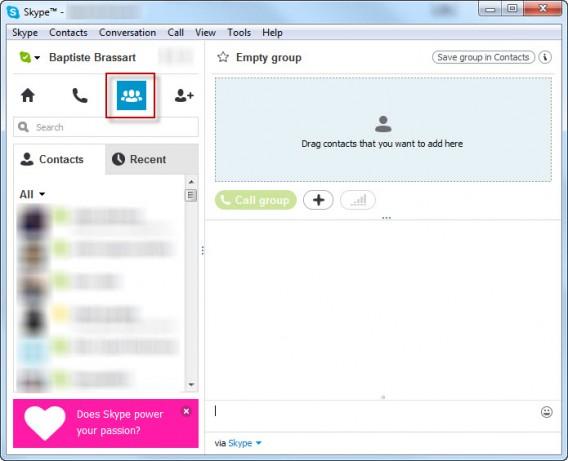 Grupos de conversação no Skype