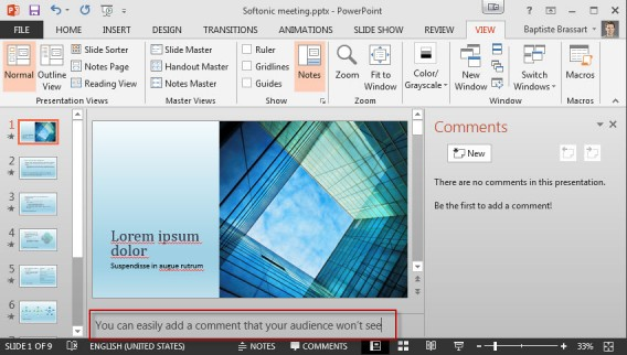 Add a note PowerPoint