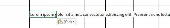 Long sentence Excel