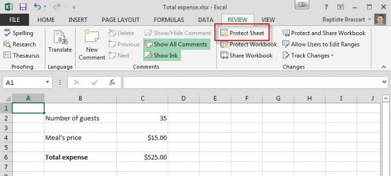 Review Protect the sheet Excel