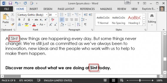 sint Replace Word