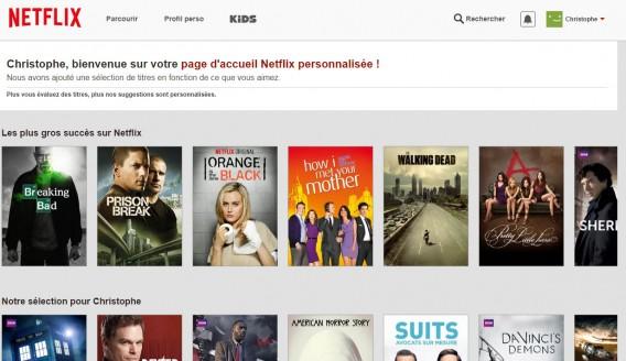 Page accueil personnalisée Netflix