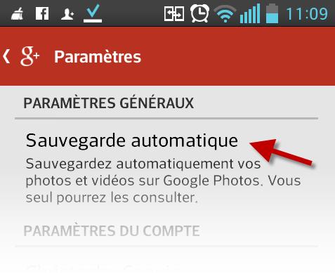 Sauvegarde automatique sur Android