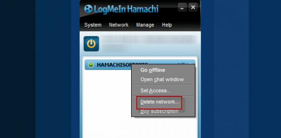 Delete Hamachi network