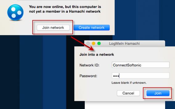 Dołączanie do sieci Hamachi