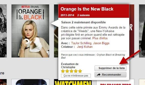 Netflix - supprimer de la liste