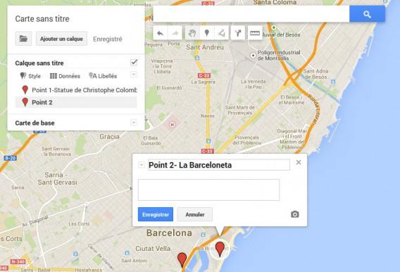 Premier itinéraire-premier calque sur My Maps